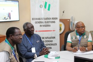 H.E. John Kufour, Head, Observer Mission(c), President, ECOWAS Commission, H.E. Kadre Ouedraogo(L) and Dr. Remi Ajibewa, Director, Political Affairs(r) Nigeria Election 2015 28-3-15. IMG_4711