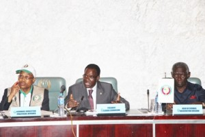 H.E. John Kufuor, Head, ECOWAS Election Observation(r), H.E. Kadre Ouedraogo(c) and  Dr. Remi Ajibewa, during Preliminary Declaration on Nigeria 2015 Election. Abuja, 29 March 2015. IMG_4951