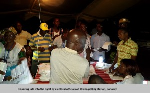 Counting late into the night by electoral officials at  Dixinn polling station, Conakry
