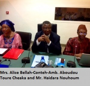 Mrs. Alice Bellah-Conteh-Amb. Aboudou Toure Cheaka and Mr. Haidara Nouhoum