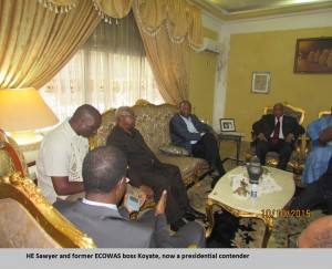 Sawyer and former ECOWAS boss Koyate, now a presidential contender