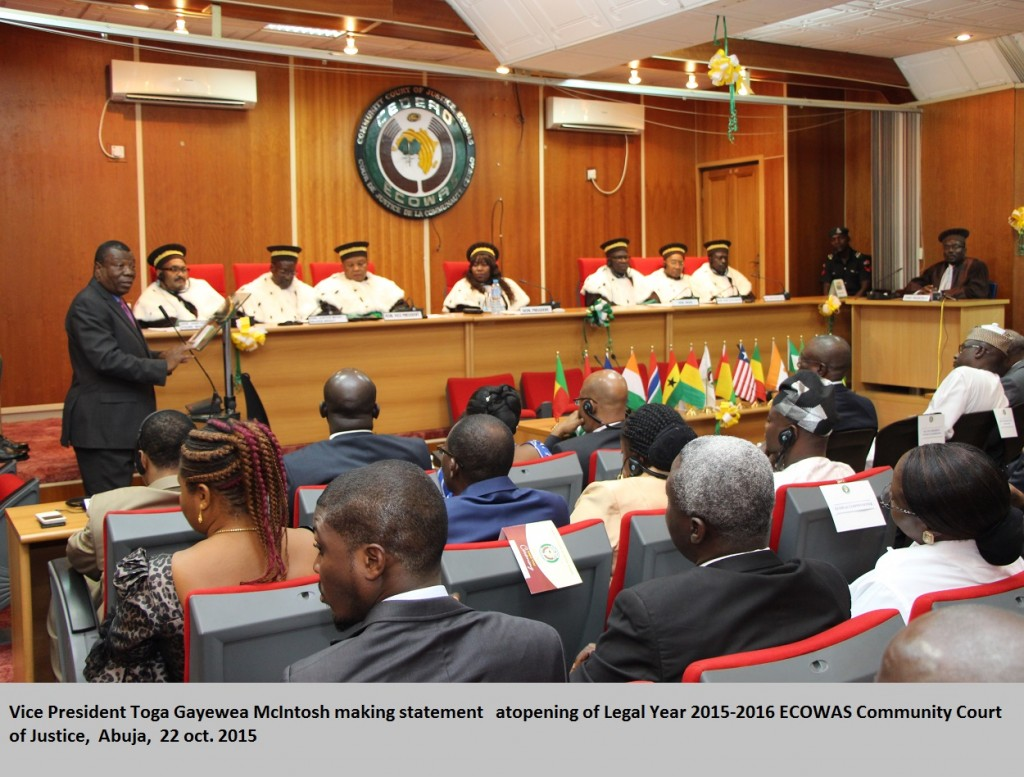 Vice President Toga Gayewea McIntosh making statement   atopening of Legal Year 2015-2016 ECOWAS Community Court of Justice,  Abuja,  22 oct. 2015MG_2025