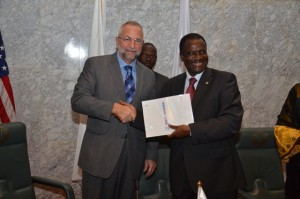 L-R Director of USAID West Africa, Mr Alexandre Deprez, with Ecowas President Kadre Desire Ouedraogo
