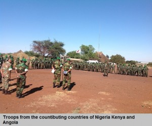 Troops from the countibuting countries of Nigeria Kenya and Angola