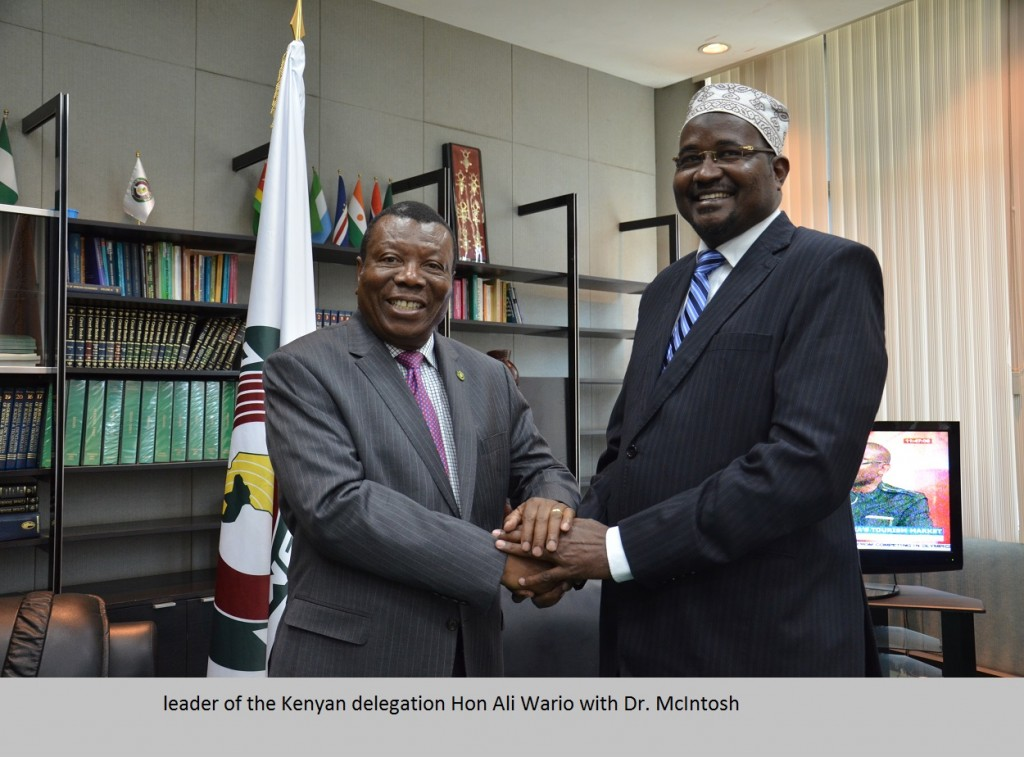 leader of the Kenyan delegation Hon Ali Wario with Dr. McIntosh