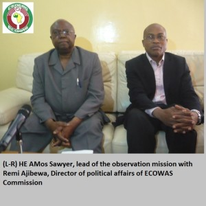 Head of ECOWAS Election Observation Mission (EOM), Amos Sawyer, and the Director of Political Affairs of the ECOWAS Commission,  Remi Ajibewa