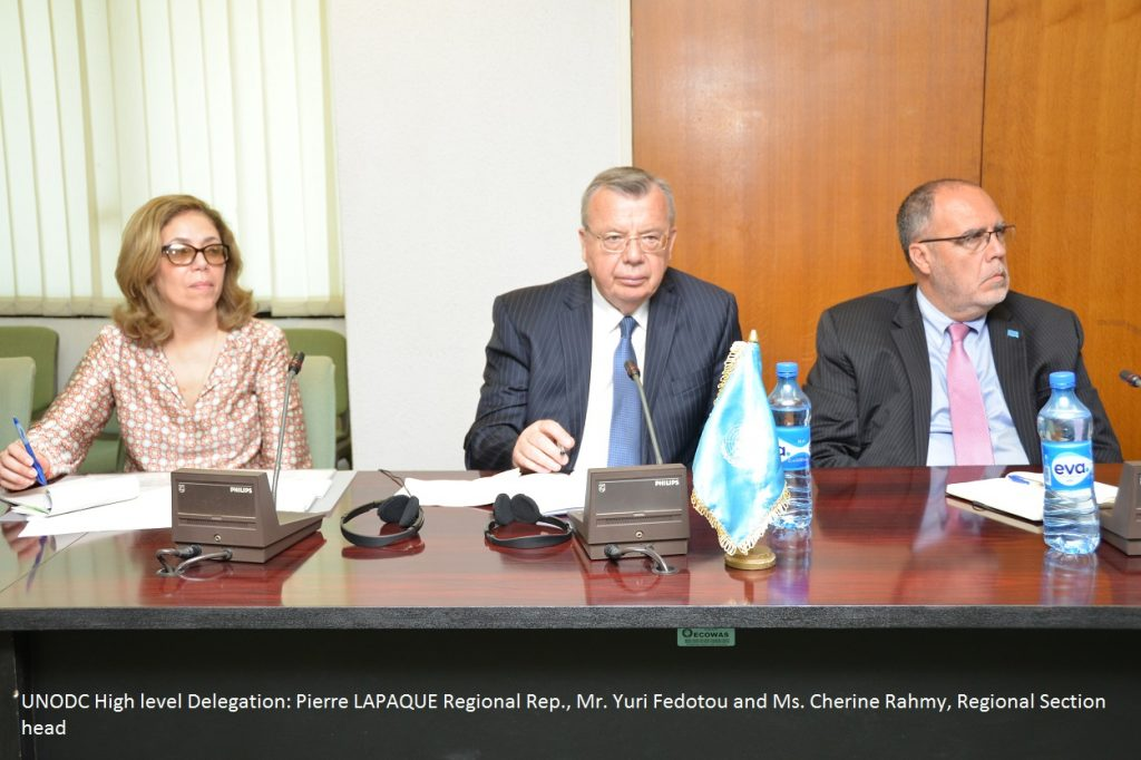 l-r Cherine Rahmy Chief Regional Section for Africa and the Middle East Div. for Op. Yuri FEDOTOU ED UNODC and Pierre LAPAQUE Regional Rep. UNODC