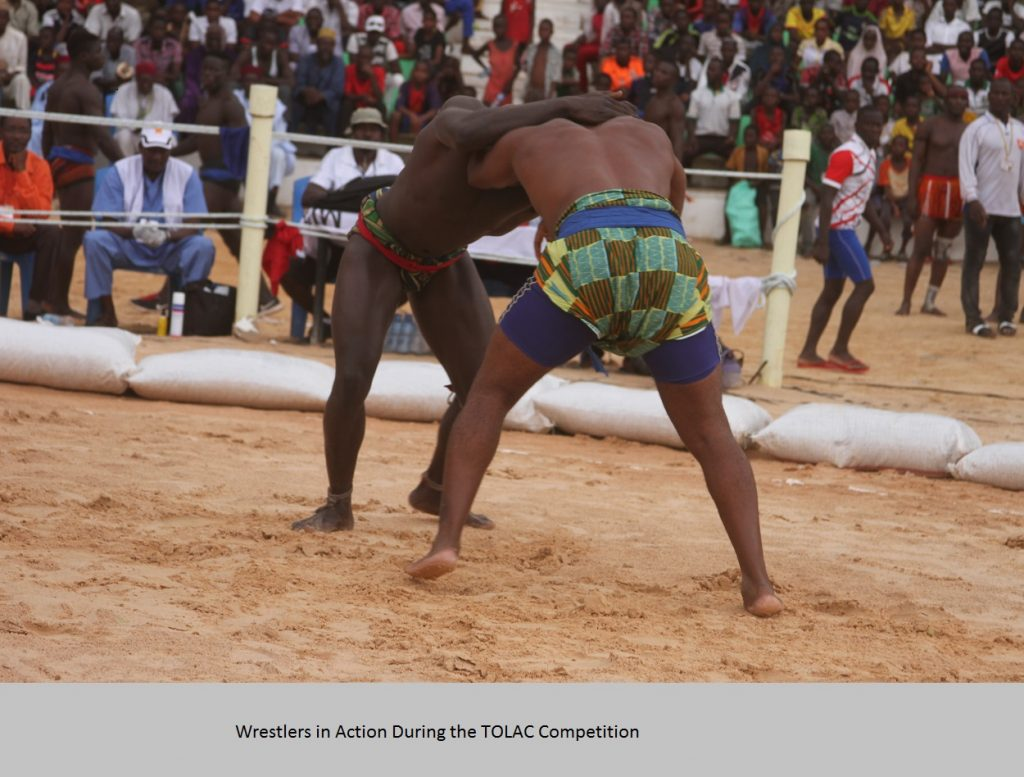 Wrestlers in Action During the TOLAC Competition