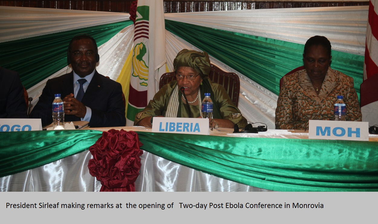 2. President Sirleaf making remarks at  the opening of   Two-day Post Ebola Conference in Monrovia