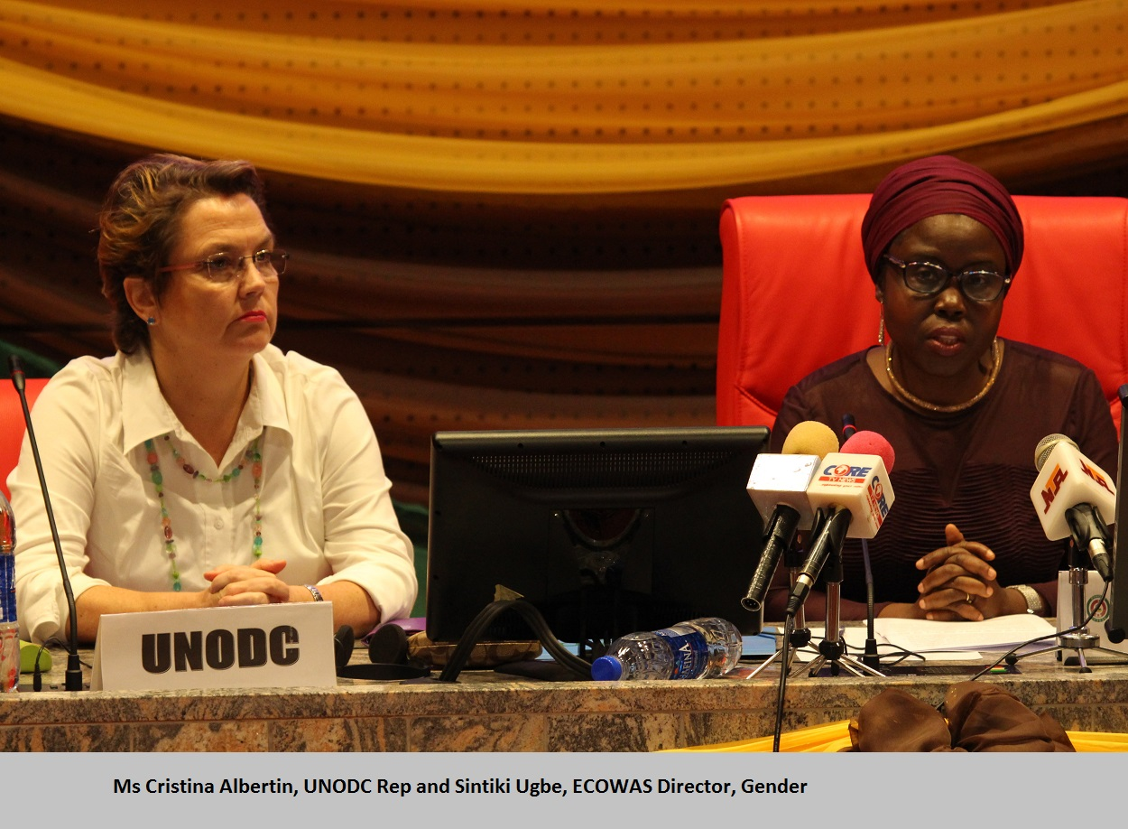 Ms Cristina Albertin, UNODC Rep and Sintiki Ugbe, ECOWAS Director, Gender