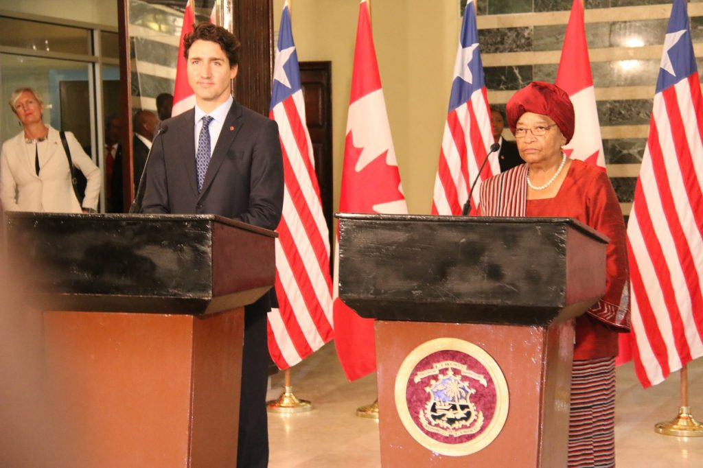 president-sirleaf-and-pm-trudeua-at-the-press-stakeout