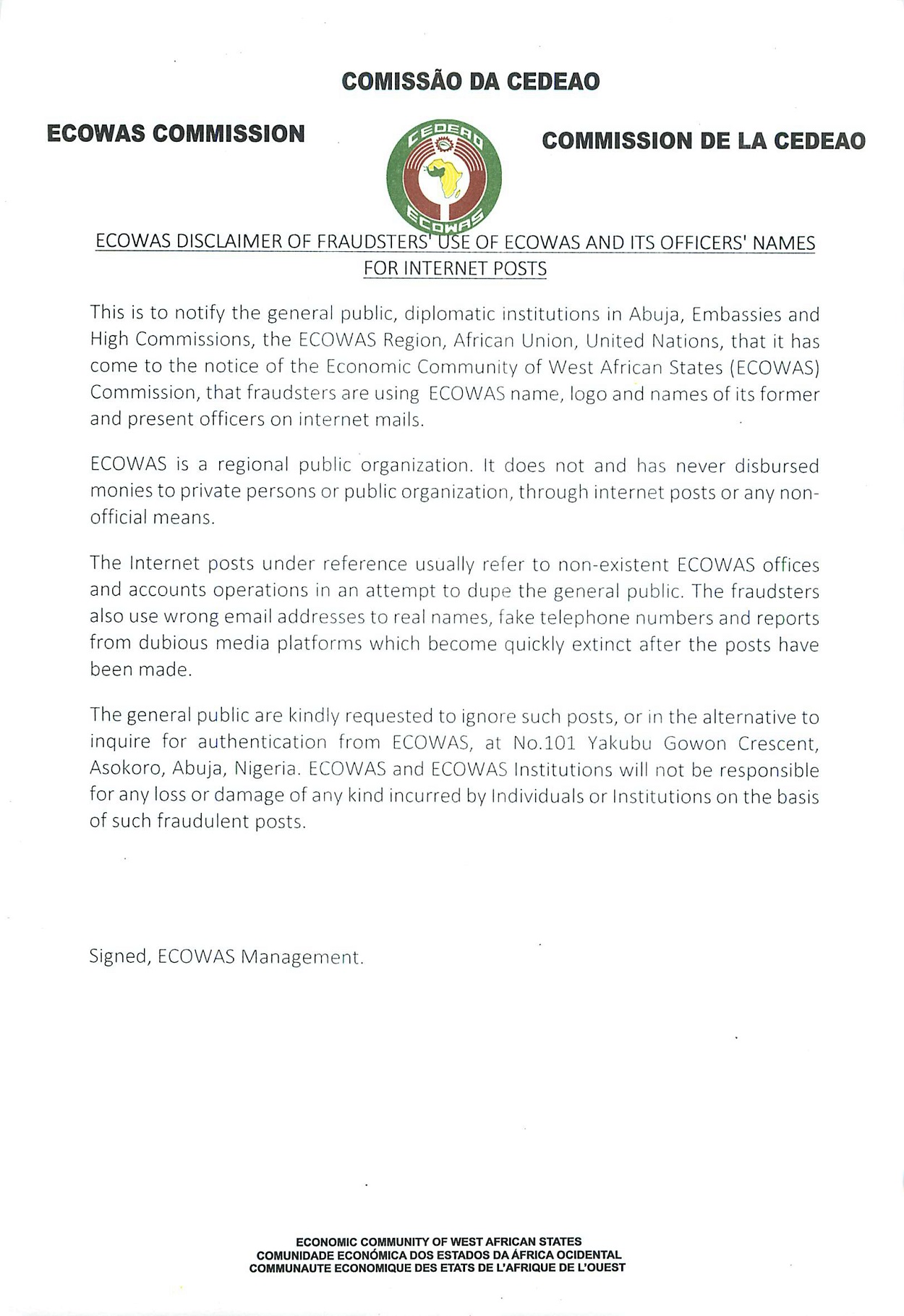 Ecowas Disclaimer Of Fraudster S Use Of Ecowas And Its Officer S Names For Internet Posts Economic Community Of West African States Ecowas