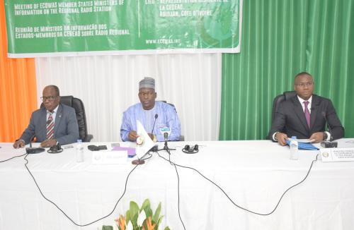 L-R - Commissioner Bonkoungou, Mr. Salissou, the Minister of Communication of the Republic of Niger and Mr. Toure, the Minister of Communication and Media, Cote d Ivoire
